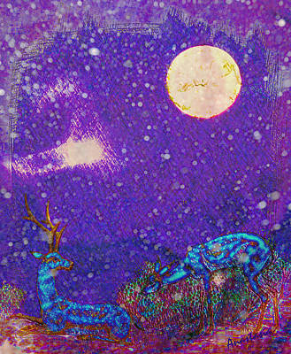 Digital Art - Moonset Over Blue Deer II by Anastasia Savage Ealy