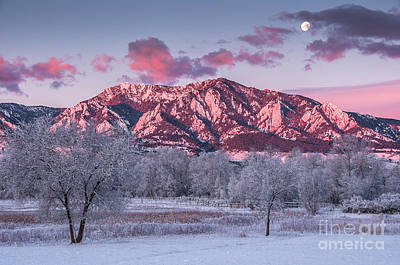 Photograph - Moonset Over Boulder by Greg Summers