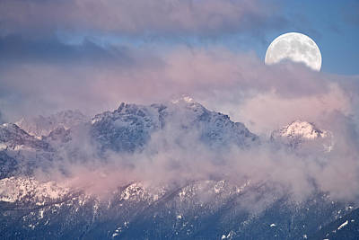 White Photograph - Moonset Over Mt Constance Olympic Mtns Wa Usa by Ed Book