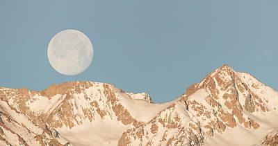 Moonset Over The Eastern Sierra Art Print by Loree Johnson
