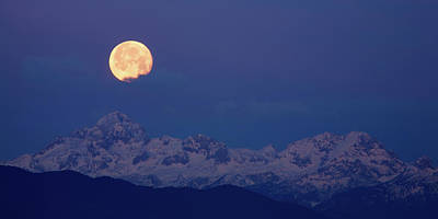 Photograph - Moonset Over The Julian Alps by Ian Middleton