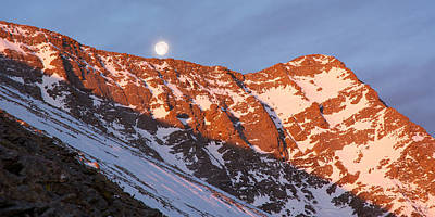 Photograph - Moonset Over The Mountain by Aaron Spong