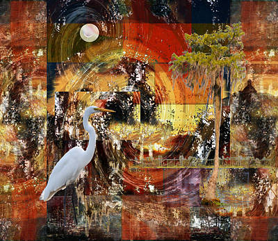Moonshine Egret On Abstract Art Print