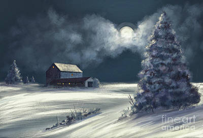 Winter Night Digital Art - Moonshine On The Snow by Lois Bryan