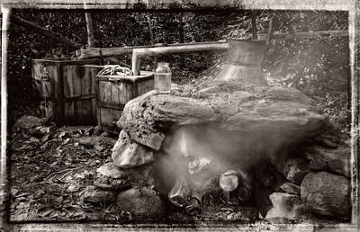 Photograph - Moonshine Still In Black And White With Border by Greg Mimbs