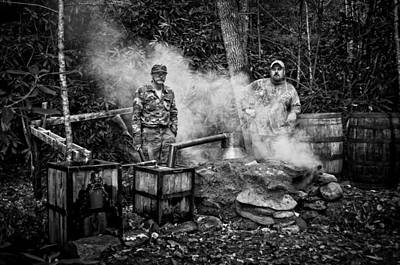 Photograph - Moonshine Still With Mark And Huck In Black And White by Greg Mimbs