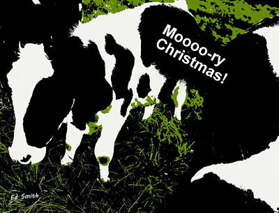 Moooory Christmas Print by Ed Smith