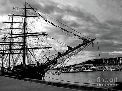 Photograph - Moored At Hobart Bw by Tim Richards