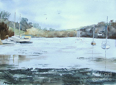 Painting - Moored At Mylor Bridge by Martin Howard