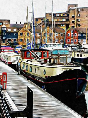 Photograph - Moored Barge At St Katharine Docks by Dorothy Berry-Lound