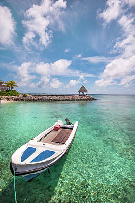 Photograph - Moored Boat In Tropical Lagoon by Jenny Rainbow