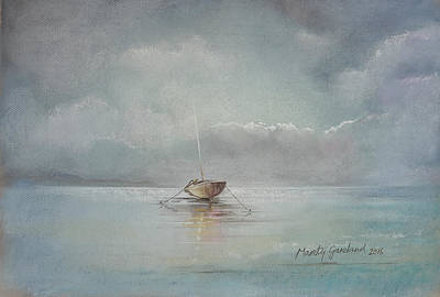 Marty Painting - Moored Boat by Marty Garland