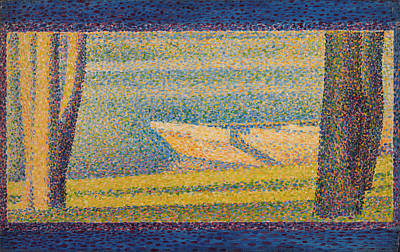 Painting - Moored Boats And Trees  by Georges-Pierre Seurat