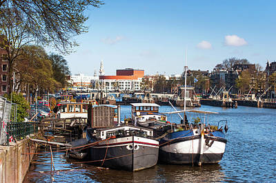 Photograph - Moored Boats At Amsterdam Canal by Jenny Rainbow