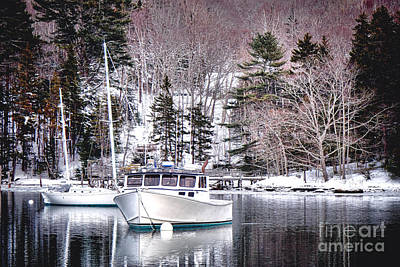 Moored Boats In Maine Winter  Art Print