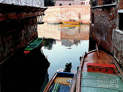 Photograph - Moored Boats On A Side Canal In Venice, Italy by Merton Allen