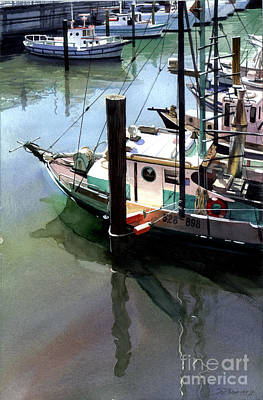 Art Print featuring the painting Moored Boats by Sergey Zhiboedov