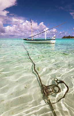 Moored Dhoni. Maldives Print by Jenny Rainbow