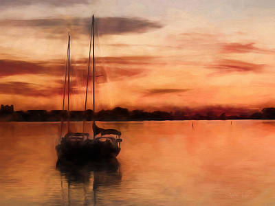 Moored For The Night Art Print by Andrea Kollo
