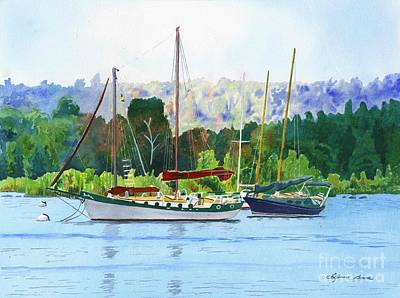 Painting - Moored Ketch by LeAnne Sowa