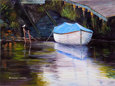 Painting - Moored Rowing Boat by Dennis Clark