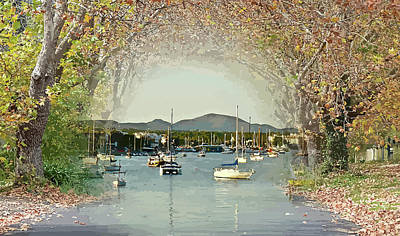 Mixed Media - Moored Yachts In A Sheltered Bay by Clive Littin