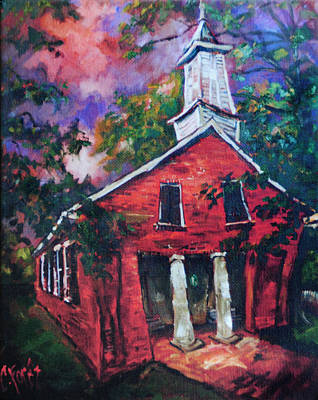 Small Town Painting - Mooresville Brick Church by Carole Foret