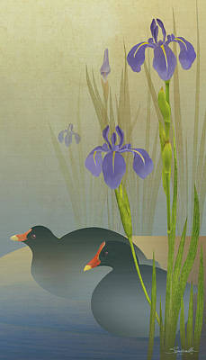 Digital Art - Moorhens And Iris by IM Spadecaller