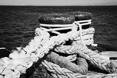Mooring Ropes On Old Metal Harbour Bollard Scotland Art Print by Joe Fox