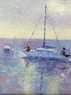 Mooring The Sailboat Art Print by Terry  Chacon