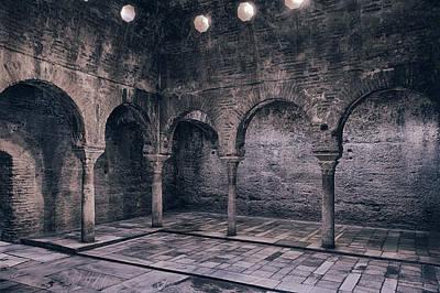 Moorish Baths Granada Bw Art Print by Joan Carroll