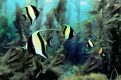 Moorish Digital Art - Moorish Idols - Tropical Fish by Russ Harris