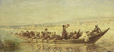 Moorish Rowers At Constantinople Art Print by Felix Ziem