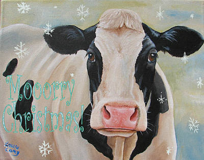 Cow Mixed Media - Moorry Christmas by Laura Carey