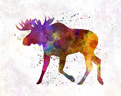 Moose Watercolor Painting - Moose 02 In Watercolor by Pablo Romero
