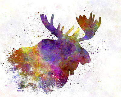 Moose Watercolor Painting - Moose 04 In Watercolor by Pablo Romero