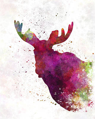 Moose Watercolor Painting - Moose 05 In Watercolor by Pablo Romero