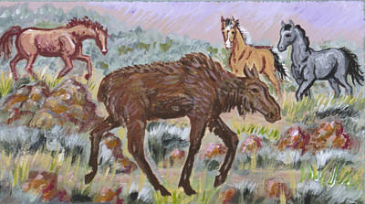 Painting - Moose And Horses Animal Vignette From River Mural by Dawn Senior-Trask