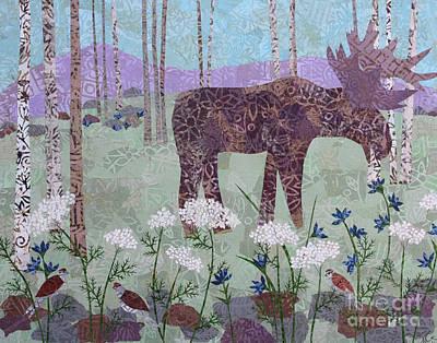 Mixed Media - Moose And Three Sparrows by Janyce Boynton