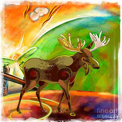 Elk Digital Art - Moose At Dawn by Peter Awax