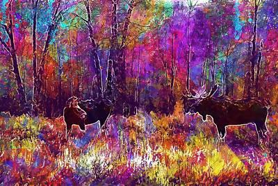 Digital Art - Moose Bull Cow Male Female  by PixBreak Art