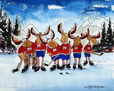 Moose Champs And Shinny Kings Print by Wilfred McOstrich