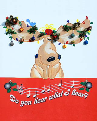 Moose Christmas Greeting Art Print
