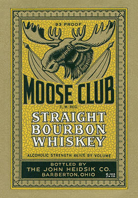 Moose Club Bourbon Label Art Print by Tom Mc Nemar