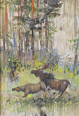 Painting - Moose Couple In The Wood by Ilya Kondrashov