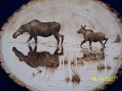 Pyrography - Moose Cow And Her Calf  by Adam Owen