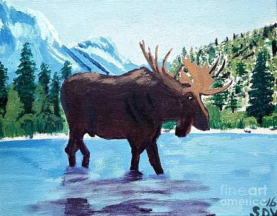 Moose Crossing Art Print