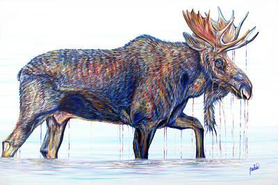 Painting - Moose Crossing by Teshia Art