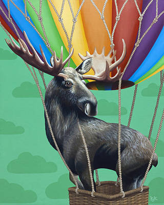 Hot Air Balloon Painting - Moose De Rozier by Kelly Jade King