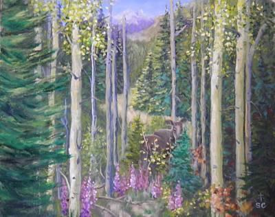 Painting - Moose Encounter by Sharon Casavant